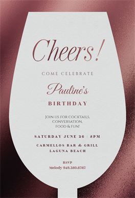 Wine Glass printable invitation template. Customize, add text and photos.  Print, download, send online or order printed!  #invitations #printable #diy #template #birthday #party