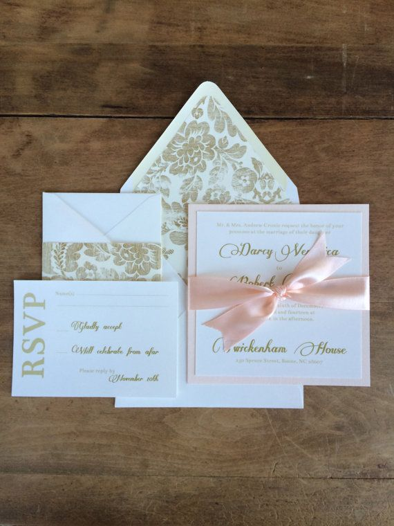 Wedding Invitations Blush and Gold by RiverKissWeddings on Etsy, $4.50