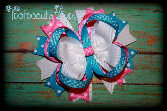 Spring Hair Bow  Boutique Hair bow  5 inch by PinkHairBowBoutique