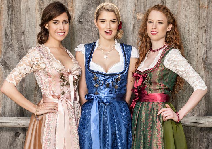 Die Annabell Dirndl in drei Farben - Rose, Blau und Grün, alle aus Halbseide angefertigt
