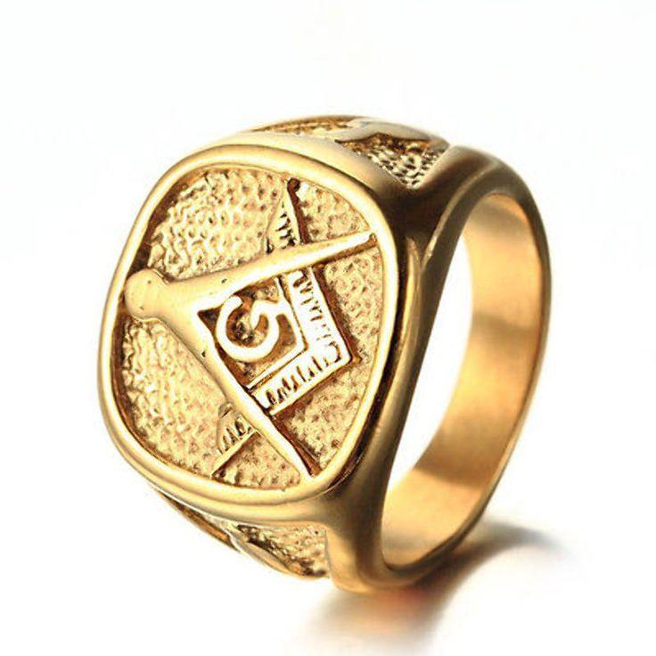 Masonic Ring Mens 18K Gold Plated 316L Stainless Steel Freemason Lodge Size 7-14