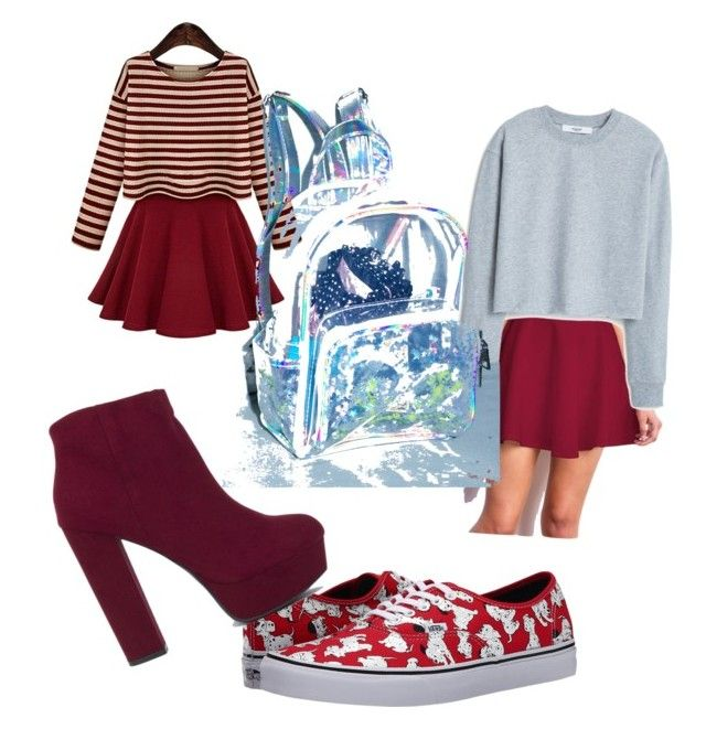 ¢υтє gιяℓу ѕ¢нσσℓ συтfιтѕ by lollypopmy on Polyvore featuring polyvore, fashion, style, MANGO and Vans