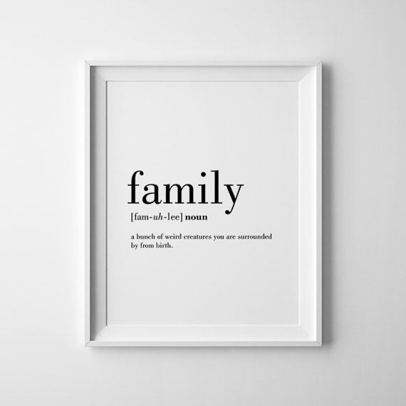 Family definition print family wall art definition