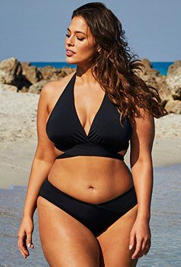 Ashley Graham Swimsuits For All Icon Black Triangle Bikini With Side Tie Letter