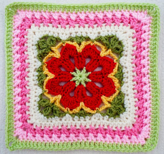Ravelry: Project Gallery for Flower Tile Afghan Square