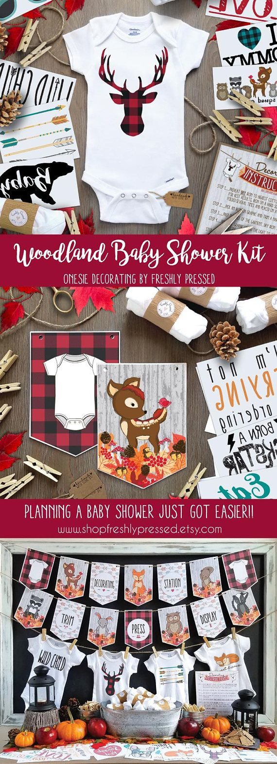 Welcome your Little Lumberjack into the world, and entertain your guests with this Woodland Creatures Iron-On decorating kit! With Red Buffalo Plaid details, it's perfect for those looking to host Woodland, Camping, or Lumberjack themed baby showers!  No need to stress over printing, assembling, or hunting down supplies (especially if youre hosting a large shower.) Carefully crafted, this kit has everything you need to make planning your shower a little easier, and your baby the most stylish…