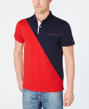 93b381a6a TOMMY HILFIGER MEN'S CUSTOM FIT DIAGONAL COLORBLOCKED POLO. #tommyhilfiger # cloth