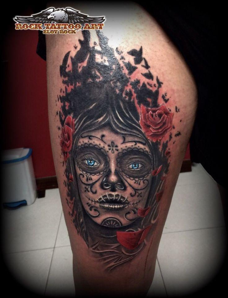 tatuaje en alicante  catrina en muslo