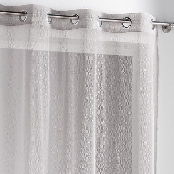 voilage oeillets plumetis taupe taupe. Black Bedroom Furniture Sets. Home Design Ideas