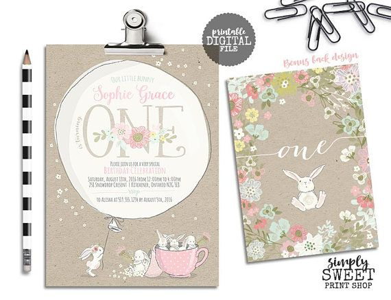 Bunny Birthday Invitation Invite Some Bunny One First Pretty Flower Floral Kraft Rustic Girl Baby Shower Rabbit Tea Party Tea Cup Balloon