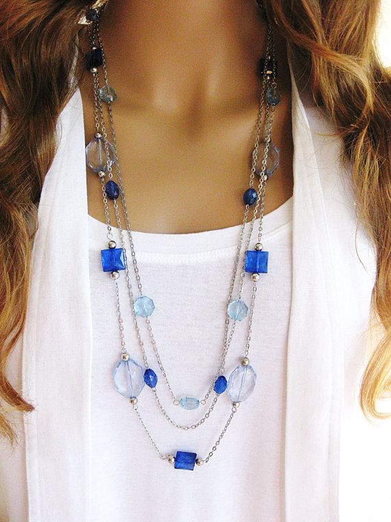 Blue Jeans Long Beaded Necklace Silver Chain by RalstonOriginals