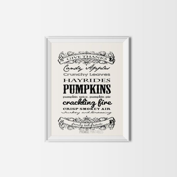 fall typography16x20 pumpkinPrintable harvest by PROMISEPRINTABLES, $5.00