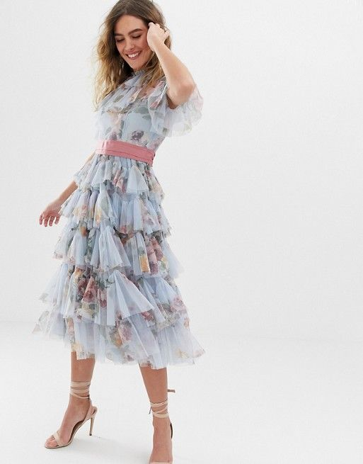 98937f02f9bc Needle & Thread tulle tiered floral midi dress with waistband in dusk blue