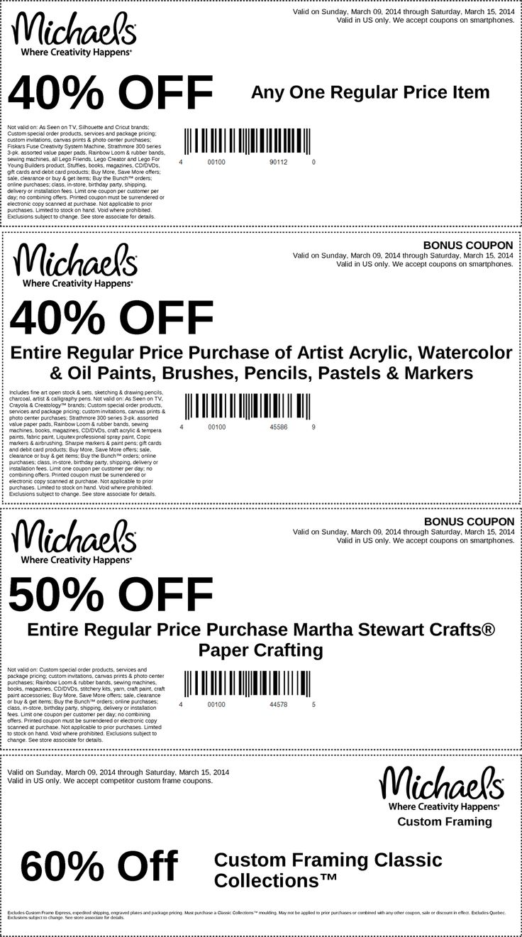 Pinned march 9th 40 off a single item more at michaels