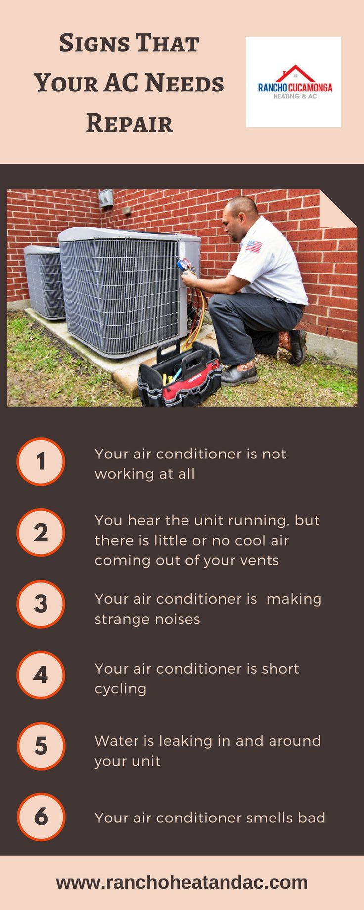 This infographic shares information about the Signs that AC needs repair. Rancho Cucamonga Heating and Air Conditioning is the best air conditioning service provider. They offer reliable air conditioning repair services in Rancho Cucamonga, Upland, Montclair, Fontana, and Ontario at the best price.