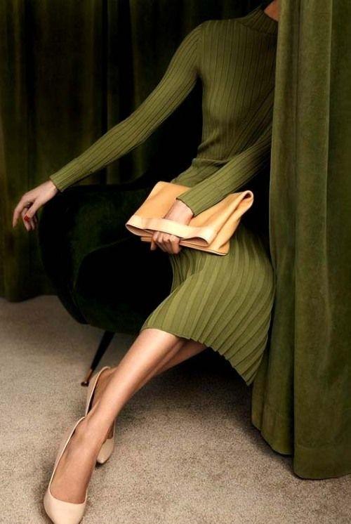 Moss green knit dress