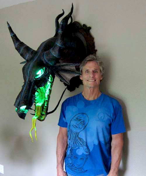 Paper Mache Maleficent dragon trophy by Dan (the Monster Man) Reeder