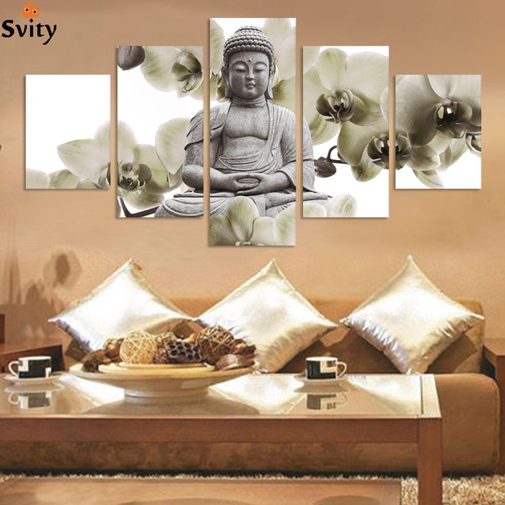 UnFramed 5 Panel Large Orchid Background Buddha Painting Fengshui Canvas  Art Wall Pictures For Living Room
