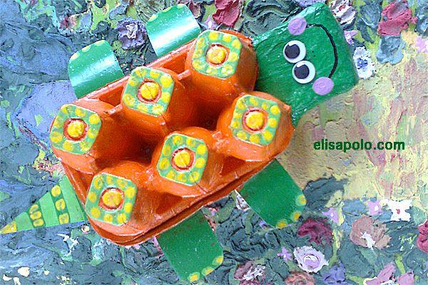 Una tortuga reciclada. #manualidades para niños