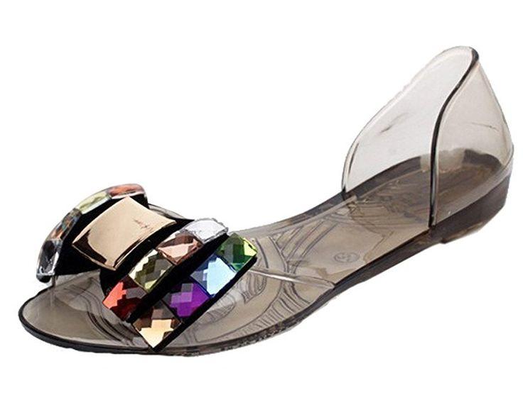 Mine Tom Mujer Sandalias De Verano Zapatos De La Jalea Bling Pajarita El Sandalias De Playa Casual Peep Toe Zapatos Dorado B 38