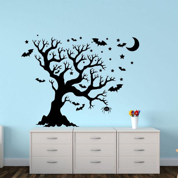 Halloween Wall Decal Tree Bat Moon Kids Room Home Art Decoration Sticker AM159 #Stickalz