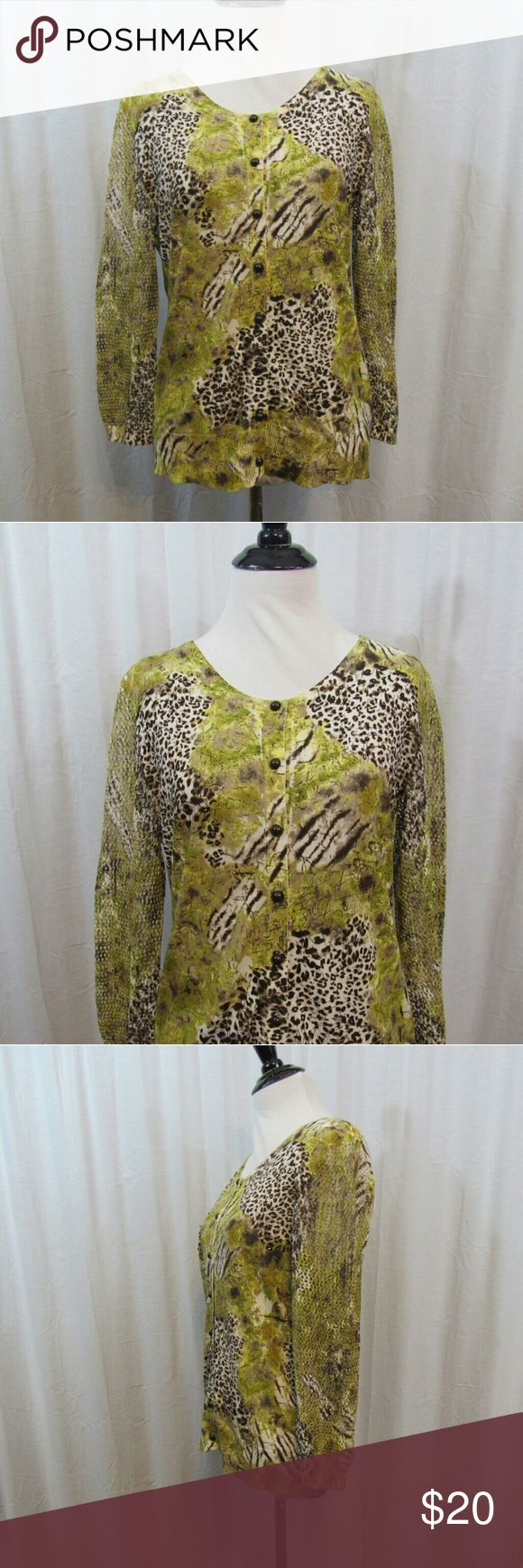 """Nygard Collection Animal Print Cardigan S Brand: Nygard Collection Size: S Material: 55% Cotton 45% Rayon Care Instructions: Hand Wash  Bust: 36"""" Sleeves: 20"""" Length: 24""""  All clothes are in excellent used condition. No tears, stains or holes unless otherwise I noted.   P74 Nygard Collection Tops"""