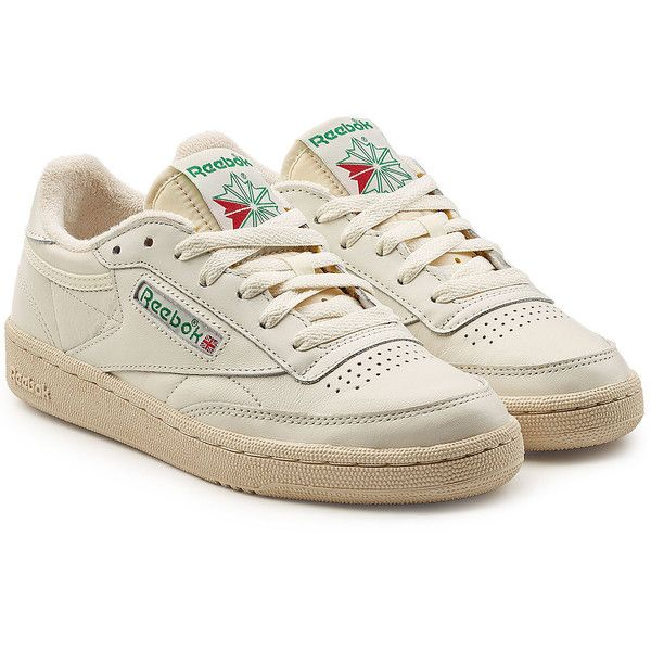 Reebok Club C 85 Vintage Leather Sneakers ($100) ❤ liked on Polyvore featuring shoes, sneakers, white, white leather sneakers, reebok trainers, tennis shoes, reebok sneakers and white shoes