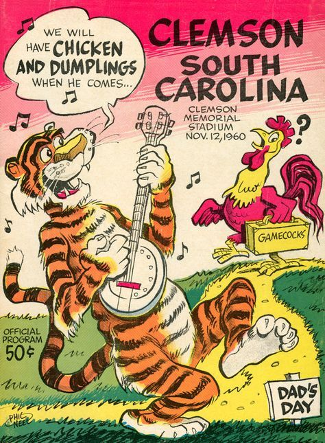 In Clemson and South Carolina's 1960 duel at Clemson, the final score was Clemson, 12; South Carolina, 2. Here's the original cover art from that day's game program -- vibrant colors restored, team sp