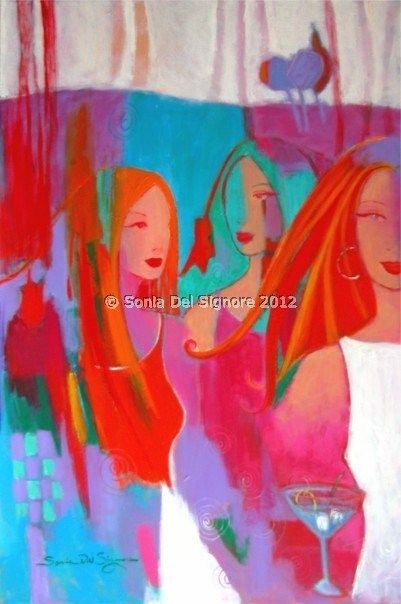 ''GARDEN PARTY'' acrylic painting by Sonia Del Signore