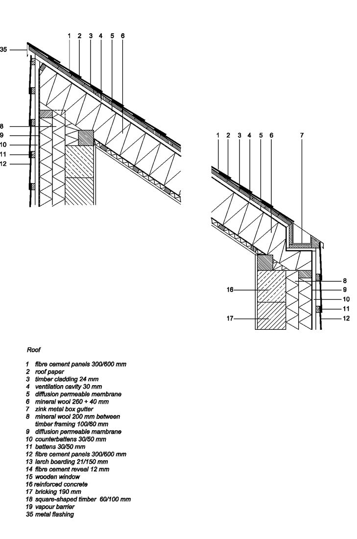 Auto cad drawings flat roof with parapet wall detail - Detail 011