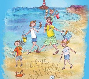 Hi-tec campaign illustration of family on beach