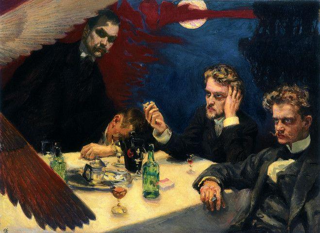Akseli Gallen-Kallela, Symposium (1894). Oikealla istuu Jean Sibelius, vieressä Robert Kajanus ja seisomassa on itse Akseli Gallen-Kallela.
