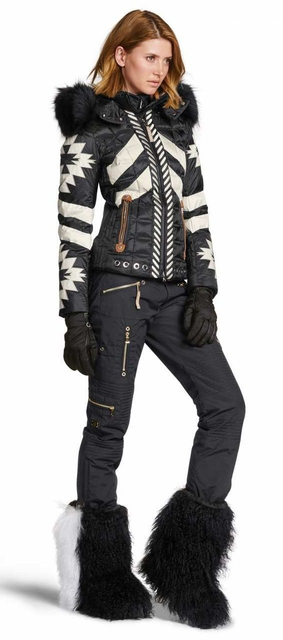 Bogner Women's Elia-D Down Ski Jacket from the front | 3158 in a Black print is super stylish.  Hoodfur sold separately
