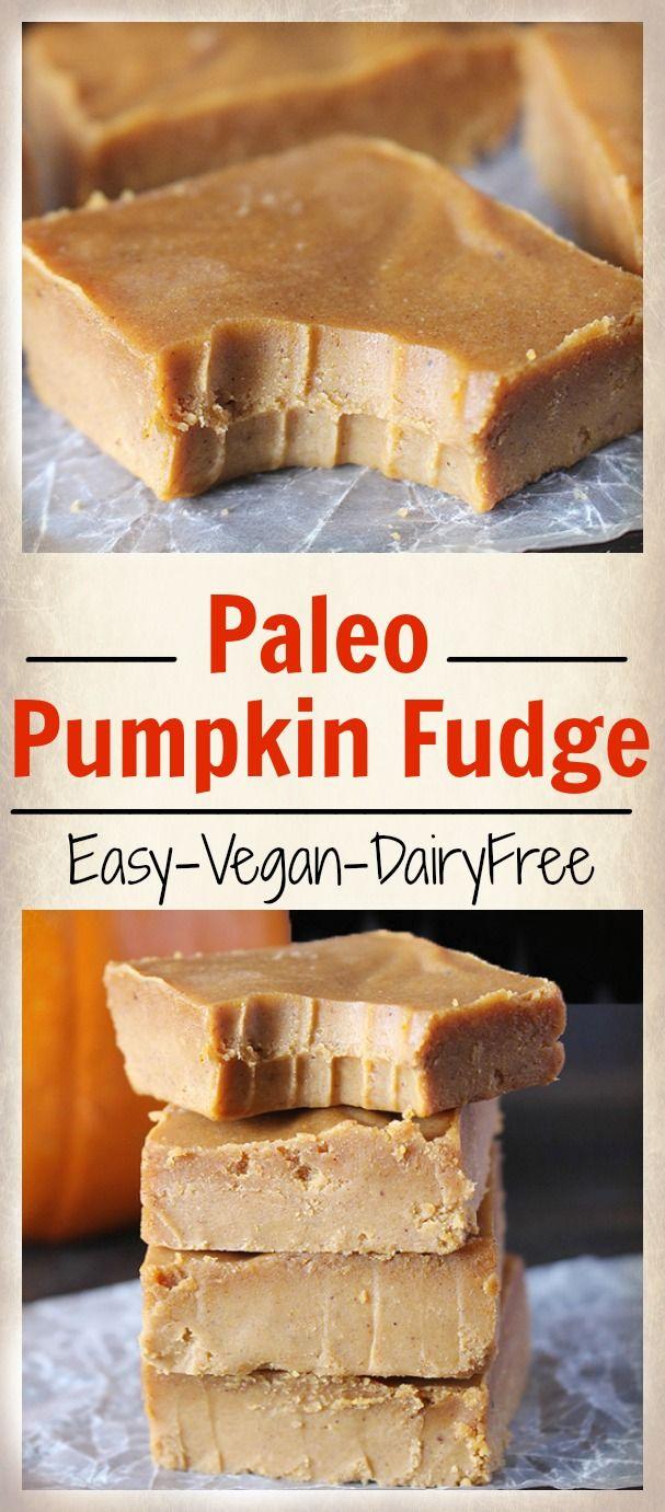 Easy Paleo Pumpkin Fudge- 5 minutes, 6 ingredients, and so delicious! Dairy free, vegan, gluten free.