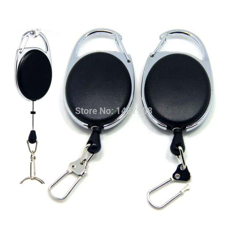 SAMS 2PCS Fly Fishing Zinger Retractor Tools Badge Reel Holder Retractable Key Chain Reel Carabiners Clip Nylon Cord