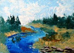 Mark Adam Webster | Mark Webster - impresionistický River Palette Knife olejomaľba 9710
