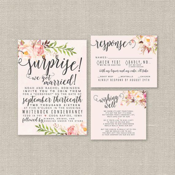 Watercolor Elopement Wedding Invitation Set - Love this idea! Blush Wedding, Floral, Boho Chic, Calligraphy