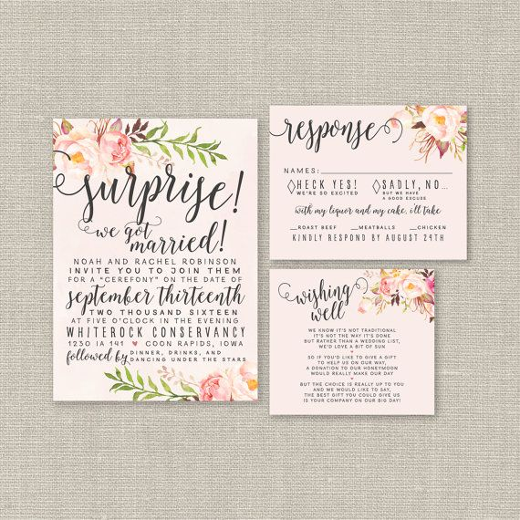 Watercolor Elopement Wedding Invitation Set - Love this idea! Blush Wedding, Floral, Boho Chic, Calligraphy