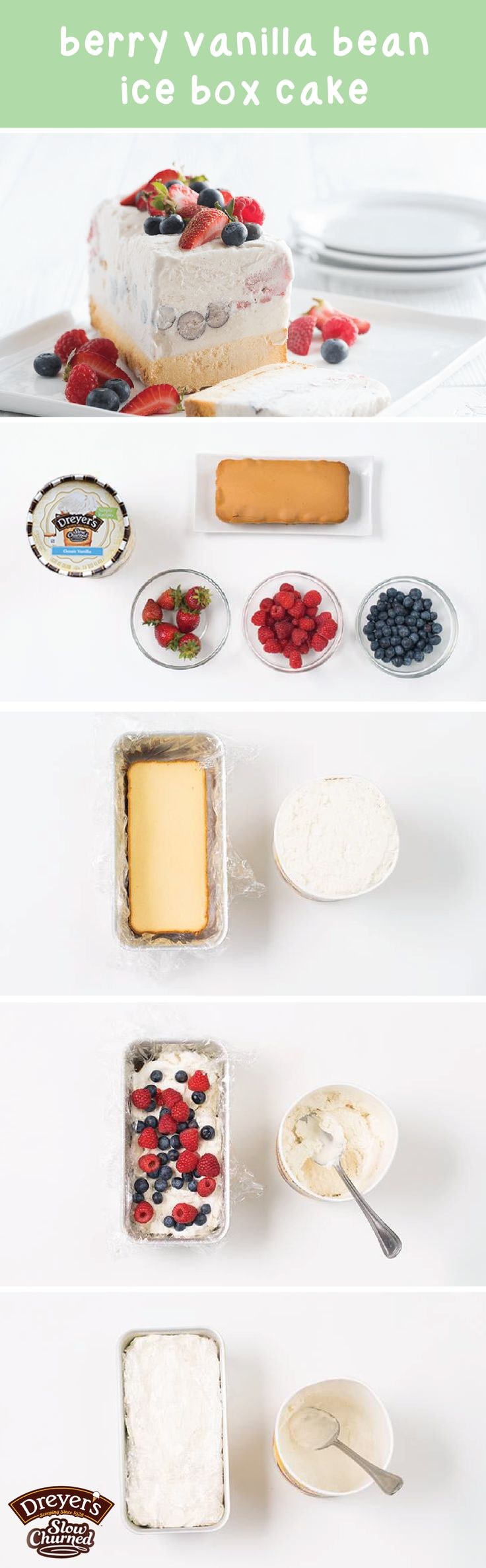 Before your next summer party, get the kids in the kitchen to help you make this Berry Vanilla Bean Ice Cream Cake! All you'll need for this recipe is store-bought pound cake, Dreyer's Slow Churned Vanilla light ice cream, blueberries, raspberries, and strawberries. Now that's one easy dessert.
