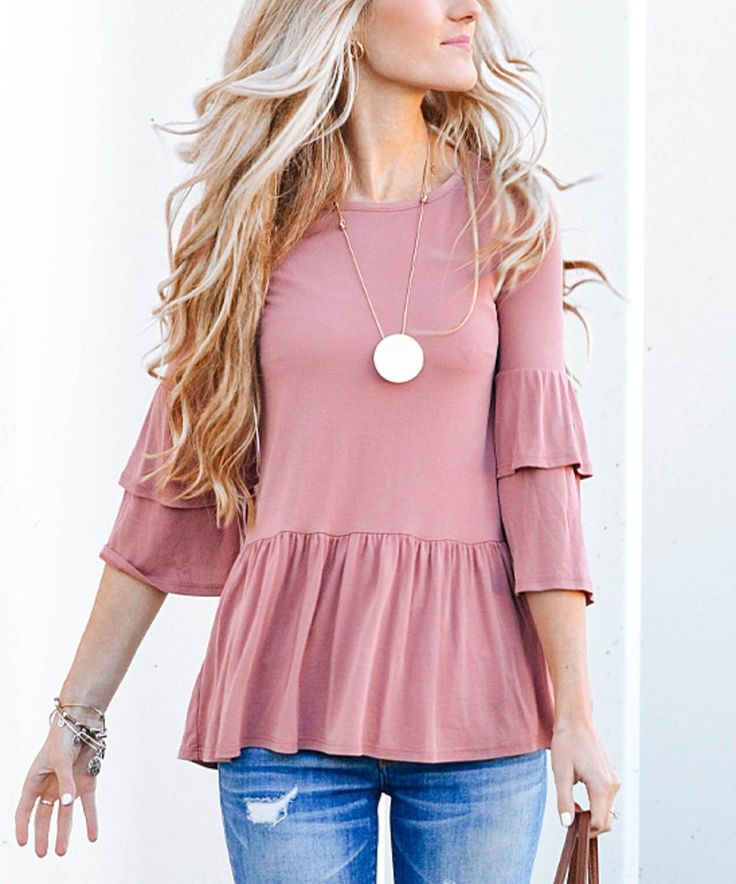Take a look at this Mauve Ruffle Three-Quarter Sleeve Top today!