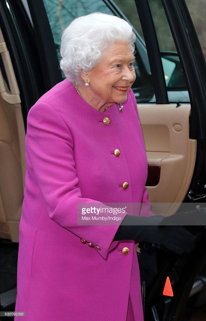 (EMBARGOED FOR PUBLICATION IN UK NEWSPAPERS UNTIL 48 HOURS AFTER CREATE DATE AND TIME) Queen Elizabeth II attends a meeting of the Sandringham branch of the Women's Institute at West Newton Village Hall on January 19, 2017 near King's Lynn, England. (Photo by Max Mumby/Indigo/Getty Images)