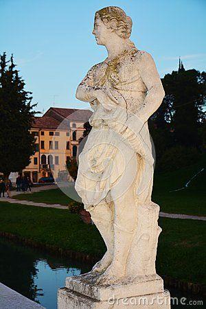 Romantic female statue in Castelfranco Veneto, in Treviso, Italy, by night.