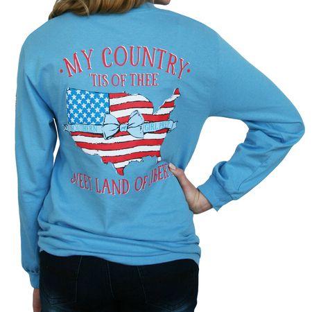 Carolina Blue My Country 'Tis of Thee Long Sleeve Tshirt
