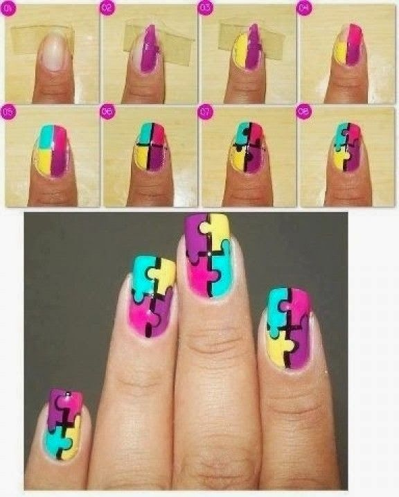 Autism Awareness Nail Art just change the colors to Red Yellow Blue and Light blue