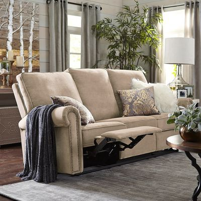 Alton Rolled Arm Reclining Sofa - Ecru
