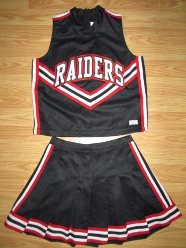 RAIDERS-Cheerleader-Uniform-Costume-Outfit-Adult-Small-Black-Red-34-25-NEW