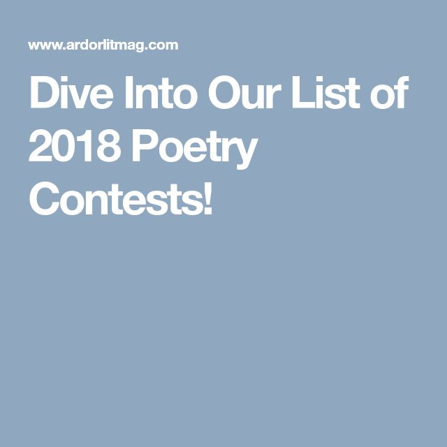 Dive Into Our List of 2018 Poetry Contests!