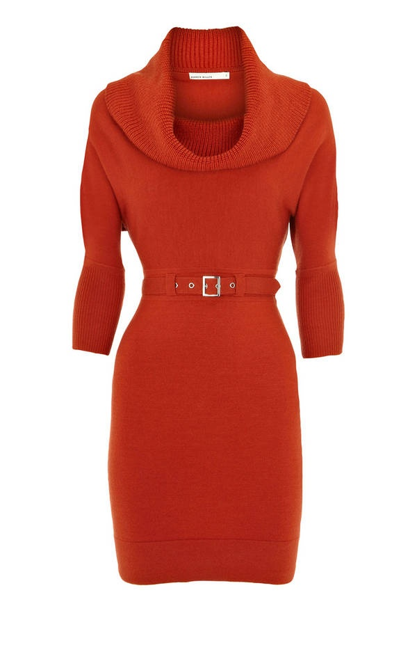 Karen Millen Cowl Neck Dress Red