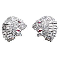 Art Deco Diamond Lion Head Earclips