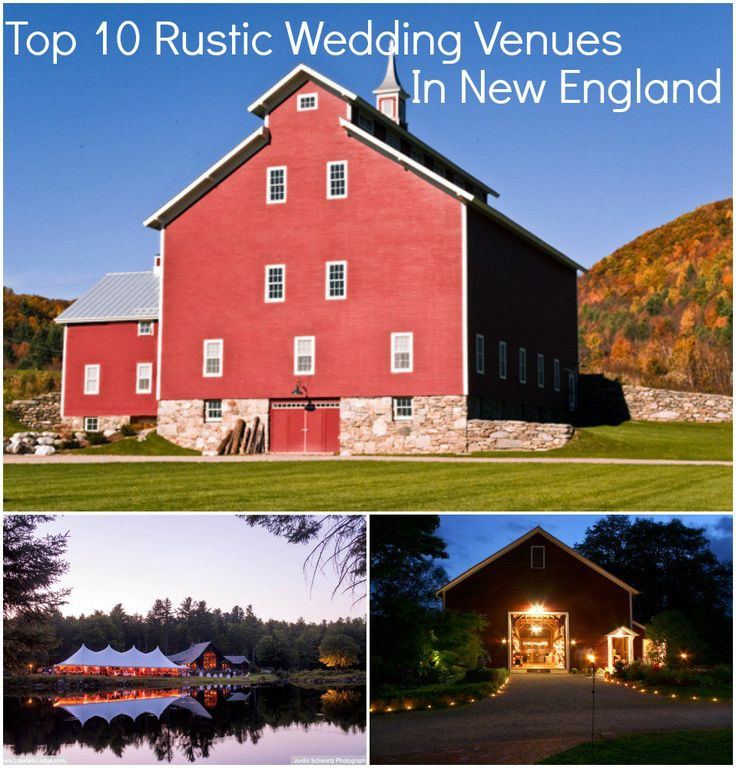 """What could be more rustic than saying """"I Do"""" in a beautiful venue located in historic New England? In case you have forgotten your elementary school geography, New England is made up of 6 states: Maine, Vermont, New Hampshire, Rhode Island and Connecticut. Since we know our readers are always on the hunt for great …"""